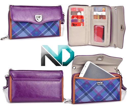 Blu Studio 5.0 D530 Clutch Full Length Wallet Wristlet {Purple Plum Leather With Blue And Violet Plaid} With Credit Card Holder + Nd Cable Tie