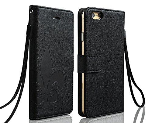 High Society - iPhone6 iPhone6s 4.7インチ ケース 手帳型 シンプル x 機能美  ユリの紋章  カード収納 ・ スタンド機能 ・ ストラップホール ・ 良質なPUレザー ♪ (iPhone6 4.7インチ, ブラック)