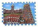 Temple Trees Polyresin Chennai Scenery Fridge Magnet (7.5 cm x 0.5 cm x 5.4 cm, TSC 3018)