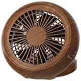 Pieria(ピエリア) 10cm コンパクトデスク扇風機 ダークウッド 3電源(AC,USB,乾電池) 風量2段階切替