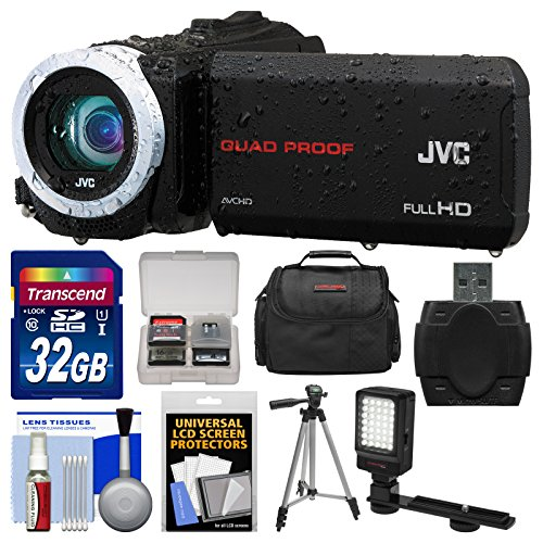 Jvc Everio Gz-R70 Quad Proof Full Hd Digital Video Camera Camcorder With 32Gb Card + Case + Led Light + Tripod + Kit