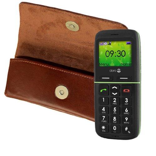 Original MTT Quertasche fuer / Doro PhoneEasy 345gsm / Horizontal Tasche Ledertasche Handytasche Etui mit Clip und Sicherheitsschlaufe* in der Farbe Braun