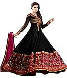 RockChin Fashions Black Embroidered Anarkali Suit
