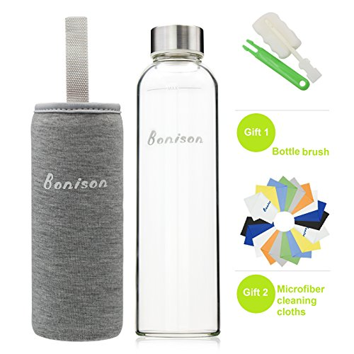 BONISON Stylish High-quality Borosilicate Glass Water Bottle with Colorful Nylon Sleeve (18oz) (GREY) (Foam Cooler Inserts compare prices)