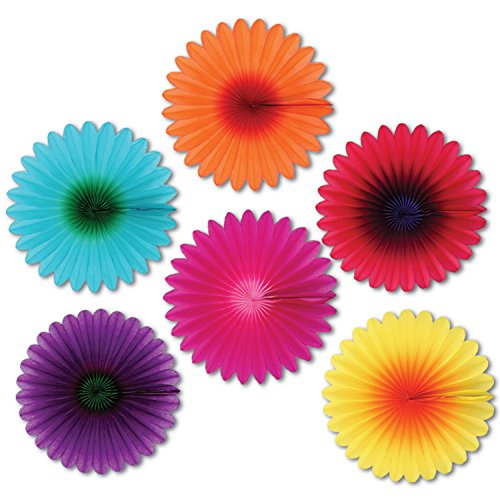 Mini Flower Fans Party Accessory (1 count) (6/Pkg)