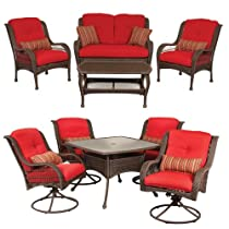 Hot Sale Bella Vista Patio Furniture Combo: 5 Piece Dining and 4 Piece Seating Set (Wicker, Brick Red) by La-Z-Boy Outdoor