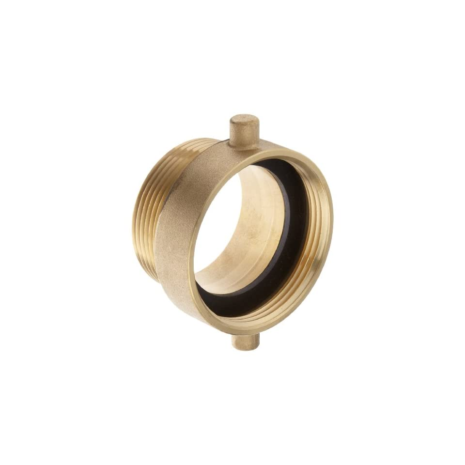 Moon 369 2522561 Brass Fire Hose Adapter, Pin Lug, 2 1/2 NH Female x 2 1/2 NPT Male