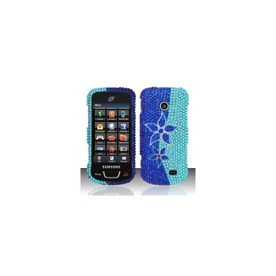 BLUE FLOWERS Hard Plastic Rhinestone Bling Case for Samsung T528g [In Twisted Tech Retail Packaging] Cell Phones & Accessories