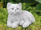 Steinfigur Katze sitzend Steinguss Antik-Weiss