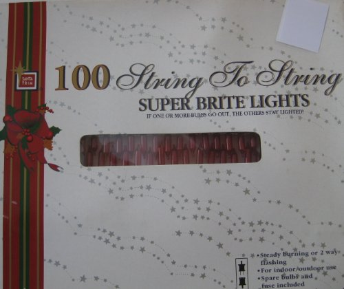 Vintage Set of 100 Red Super Bright Lights Mini Christmas Lights - Green Wire Stays Lit even if one bulb is burnt out. With extra bulb and fuse. - bulbs - steady Illuminating or flashing (flashing bulb included). light