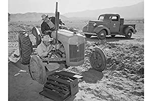 "Buyenlarge Tractor Repair: Driver Benji Iguchi, Mechanic Henry Hanawa, - Gallery Wrapped 44""X66"" canvas Print., 44"" X 66"""""
