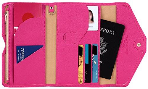 Zoppen Mulit-purpose Rfid Blocking Travel Passport Wallet (Ver.4) Trifold Document Organizer Holder, Rose Red