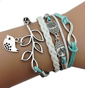 Change Vintage Handmade Infinity Silver 8 Owl Leaf Bird Leather Bracelet Wristband New