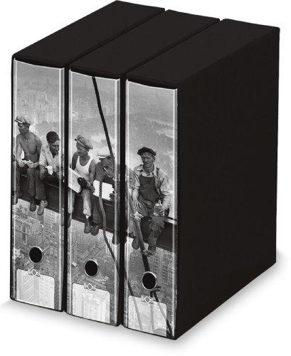 """KAOS - Set da 3 raccoglitori ad anelli dorso 8 - OPERAI 2 """"Lunch atop a skyscraper"""" - Misure Set: 26.8x35x29 cm"""
