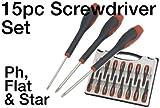 15 Pc Precision Screwdriver Set - Flat, Philips & Star Drivers - High Quality