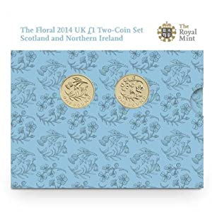 The Floral 2014 UK £1 Münzen Set Schottland & N. Ireland BU Münzen von The Royal Mint