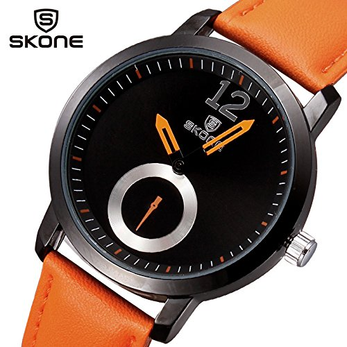 Men watch luxury brand quartz analog dial sport watch leather strap brief elegant – orange image