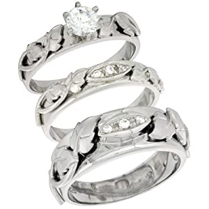 Sterling Silver Cubic Zirconia Trio Engagement Wedding Ring Set for Him and Her, men's band 5/16 inch wide, size 5