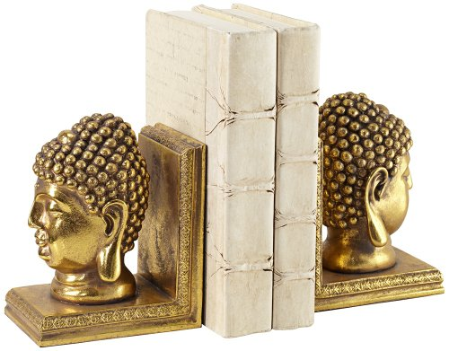 Gold Buddha Head Bookends Set