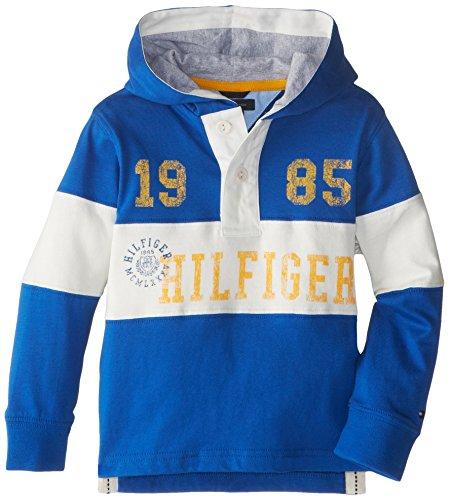 Tommy Hilfiger Little Boys' Long Sleeve Logan Hoodie Rugby, Blue Jean, 04 Regular