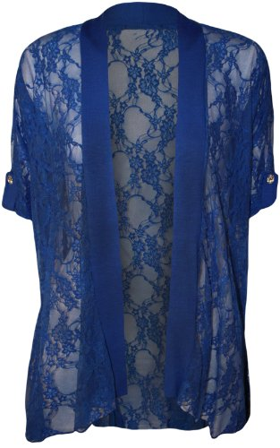 Wearall Women'S Lace Open Cardigan - Electric Blue - Us 18-20 (Uk 22-24)