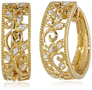 14k Gold Plated Sterling Silver Diamond Lacey Earrings (0.05 cttw, I-J Color, I2-I3 Clarity)