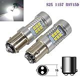 Ronben 12V-24V 21SMD 2835 LED S25 LED 1157 BAY15D BAY 15D P21/5W Car LED Bulb White Brake Light LED Parking Lamp Pack of 2