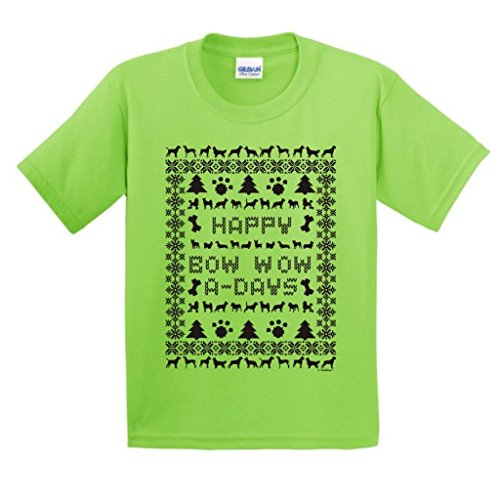 Ugly Christmas Sweater Dog Lover'S Youth T-Shirt Medium Lime
