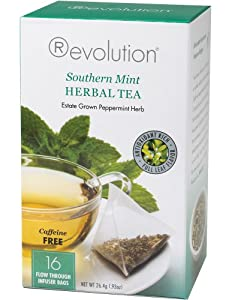 Revolution Tea, Southern Mint Herbal Tea (Caffeine Free), 16 Flow-through Infuser Bags in a Stay-Fresh Container