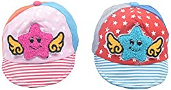 Kandyfloss Babies Caps - Pack of 2 Caps (MRHKFCAPS16, Multi-Colored, 0-3 Months)