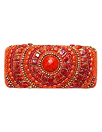 ORANGE GLASS BEADS DESIGNER WOMEN'S BOX CLUTCH