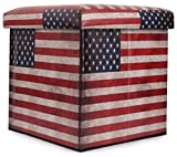 UberLyfe Large Foldable Ottoman Storage Box cum Stool - Vintage USA