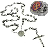 """Catholic Rosary Beads Pray Necklace Stainless Steel Saint Benedict Medal-San Benito-28"""" 6MM ,24"""" 6MM OR 18"""" 4MM"""