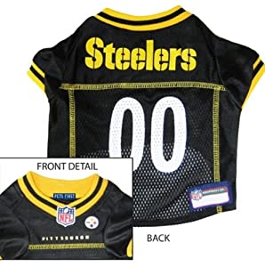 """NFL Dog Jersey Size: Extra Large (23"""" H x 17"""" W x 0.5"""" D), NFL Team: Pittsburgh Steelers"""