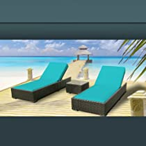 Hot Sale Luxxella Outdoor Patio Wicker Furniture 3 Pc Chaise Lounge Set TURQUOISE