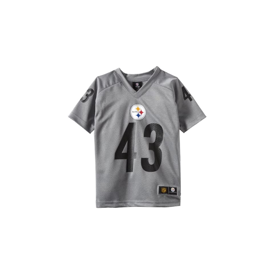 NFL Pittsburgh Steelers Troy Polamalu 8 20 Youth Charcoal Player Replica Jersey, Grey, Small