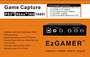 EZCAP.TV 152 EzGAMER Game Capture Device. Play on your tv in 1080i HD and record to your pc/laptop in standard definition at the same time. For PS3, XBOX 360. Upload videos direct to YouTube in 720p HD. Convert footage for mobile device or make a dvd. All cables supplied. Simply connect to your consoles component cable. Supports Windows XP/Vista, Windows 7 32/64 bit, Windows 8