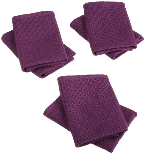 DII 100-percent Cotton Waffle 13-Inch-by-13-Inch Dishcloth Set of 6, Eggplant