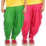 Goodtry Girls Butterfly Dhoti Pant pack of 2-Green-Pink
