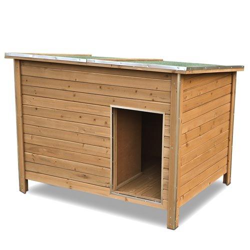 Happypet-Hundehtte-DK120-2-wetterfest-isoliert-mit-Windfang-aus-Massivholz-120-x-90-x-90-cm