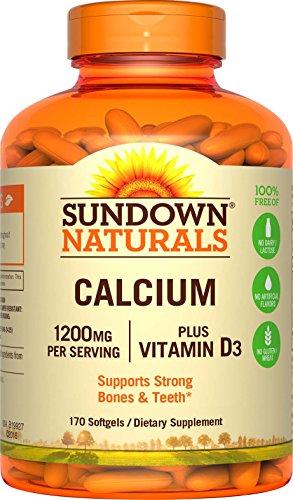 Sundown Naturals Calcium 1200 Plus Vitamin D3 1000 IU, 170 Liquid Filled Softgels