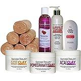 Super Fruit Antioxidant Skin Care & Body Wrap Clay Kit with Pomegranate, Goji Berry & Acai Berry