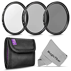 67MM Professional Photography Filter Kit (UV, Polarizer, Neutral Density ND4) for Camera Lens with 67MM Filter Thread + Filter Pouch + Premium MagicFiber Microfiber Cleaning Cloth