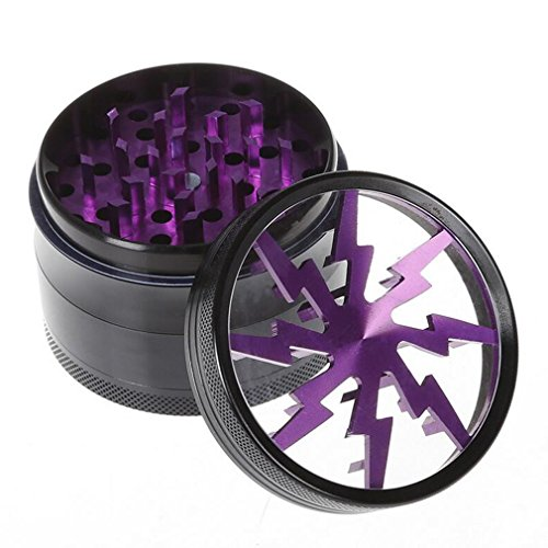 GoFriend® 4-Piece 2.5″ Tobacco Spice Herb Weed Pollen Plant Grinder Crusher Smoke Grinders with Pollen Catcher & Pollen Scraper (Purple)