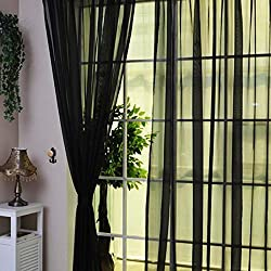2016 Modern Style Room Wedding Colorful Floral Tulle Voile Door Window Curtain Sheer Valances Scarf 11 Types (1PCS 200X100CM, Black)