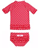 RuffleButts Lunares, Color Rojo Con Volantes Rash Guard Bikini - 4T Tamaño: 4T (Baby/Babe/Infant - Little Ones)