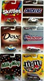 Hot Wheels 1:64 Scale M&M's Set of 6 Cars, Includes Skittles Deco Delivery, Dove '29 Ford Pick-Up, Milky Way Bread Box, M&M's Smokin Grille, 3 Musketeers '70 Chevelle Delivery, and Snickers Anglia Panel Truck. Real Riders, Metal/Metal
