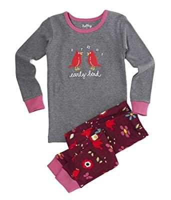 Hatley Little Girls'  P.J. Set -Birds & Flowers,Grey/Red Thorn,6