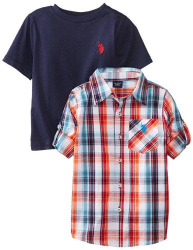 U.S. Polo Assn. Little Boys' Plaid Long Sleeve Sport Shirt With Crew Neck T-Shirt Set, Navy, 7