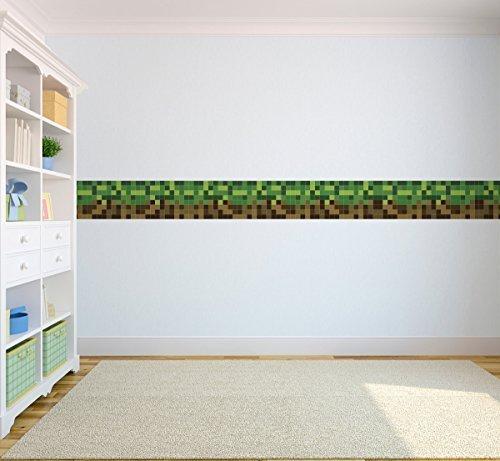 pixel-design-kinder-selbstklebende-vinyl-tapete-bordure-5-meter-lang-grun-braun